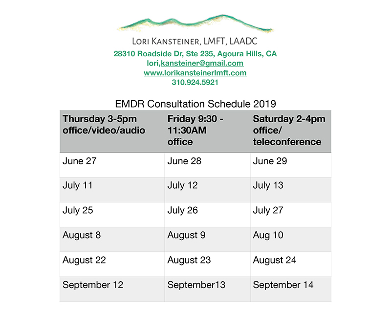 EMDR Consultation schedule updated for September